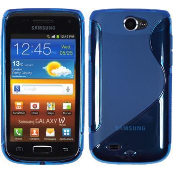 Silikon Hülle Galaxy W S-Style blau + 2 Schutzfolien