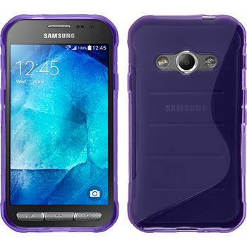 Silikon Hülle Galaxy Xcover 3 S-Style lila + 2 Schutzfolien