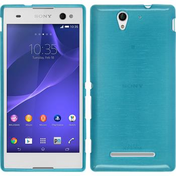 Silikon Hülle Xperia C3 brushed blau