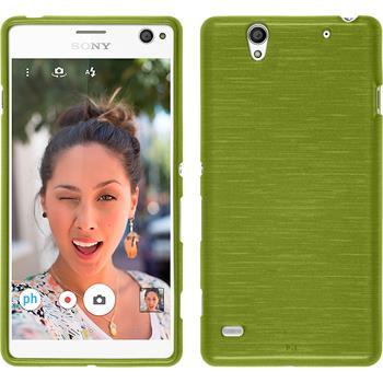 Silikon Hülle Xperia C4 / Dual brushed pastellgrün