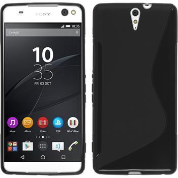 Silikon Hülle Xperia C5 Ultra S-Style schwarz + 2 Schutzfolien