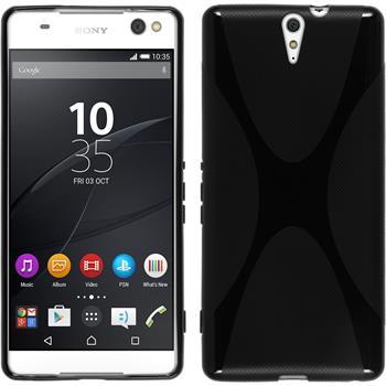 Silikon Hülle Xperia C5 Ultra X-Style schwarz + 2 Schutzfolien