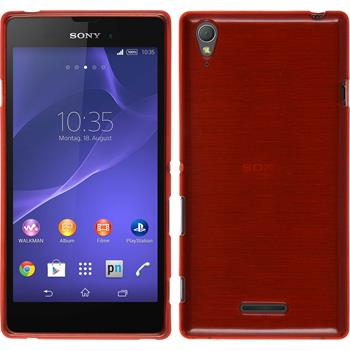 Silikon Hülle Xperia Style brushed rot + 2 Schutzfolien