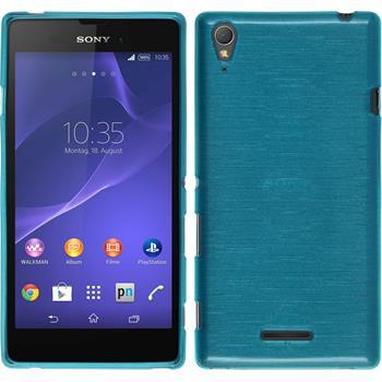 Silikon Hülle Xperia T3 brushed blau + 2 Schutzfolien