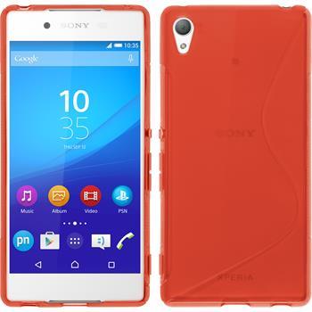 Silikon Hülle Xperia Z3+ / Plus S-Style rot + 2 Schutzfolien