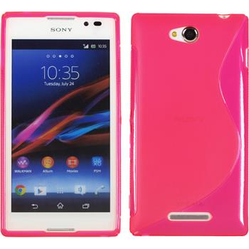 Silicone Case for Sony Xperia C S-Style hot pink