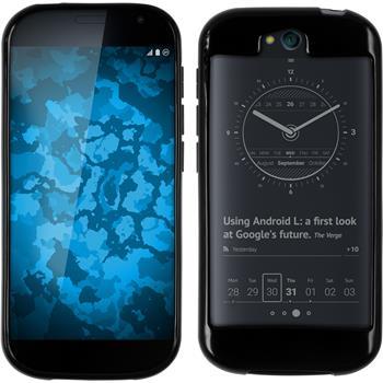 Silikon Hülle Yotaphone 2 transparent schwarz + 2 Schutzfolien