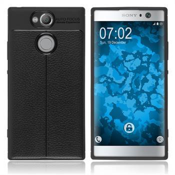 Silikon Hülle Xperia XA2 Lederoptik schwarz Case