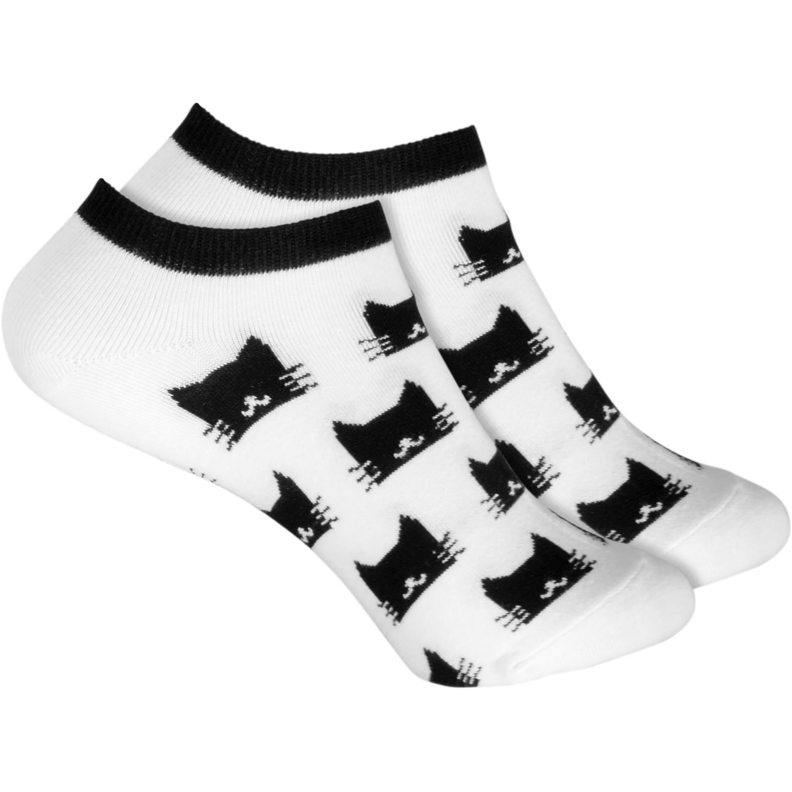 cosey dünne Socken Sneaker Katzen weiß 33-40 2 Paar Baumwolle atmungsaktiv weich