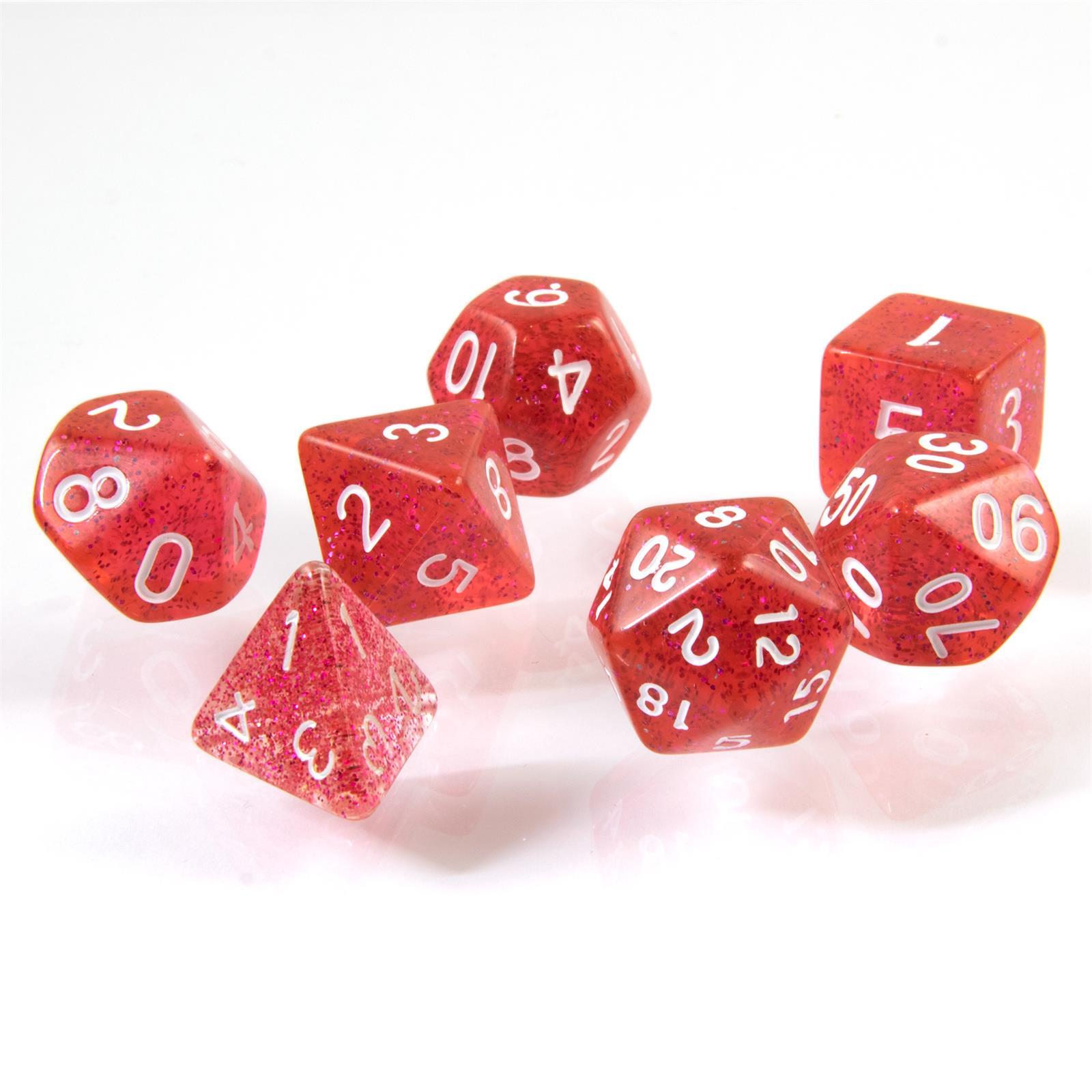polyedrische Glitzer-Würfel in rot Rollenspiele Dungeons /& Dragons D/&D Beutel